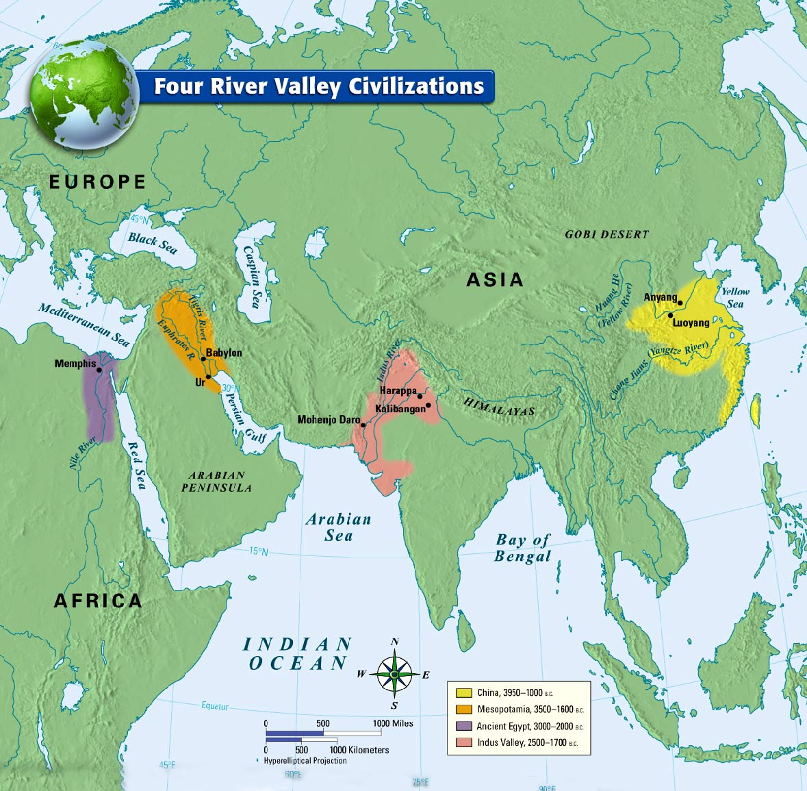 Four River Valley Civilizations Map